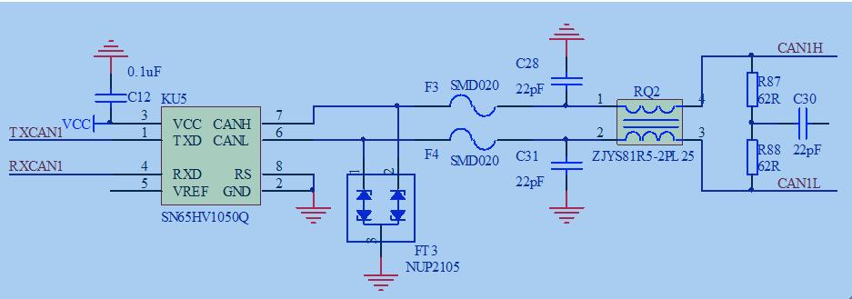 求帮助解释下该电路图的作用.其中txcan1与rxcan1连接