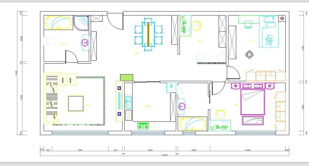 谁能帮我设计一下长12米宽7米的长方形两室或三室的户型,感激不尽.图片