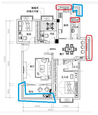 房屋设计图,窗的表示方法,求教
