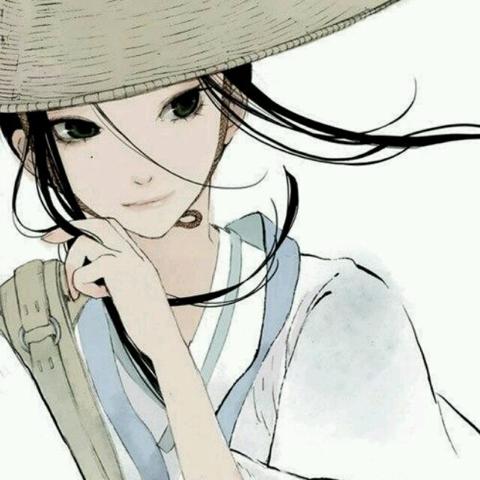 素描头像戴帽子女青年正面