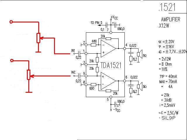 tda1521单电源功率放大器电路图 电位器接在哪里? 敬请高手指点 谢谢