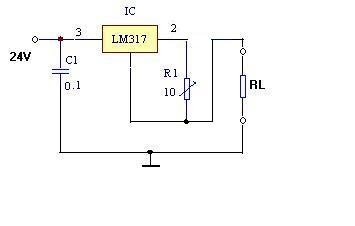 求lm317恒流源电路,输入24v/12v,输出3.7v,0.3a