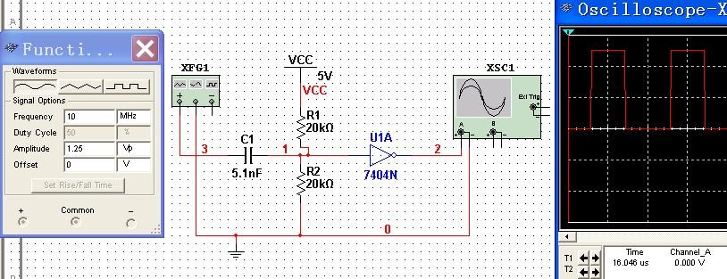 若非门输出占空比不一致,你可以加电阻调整其阈值电压(需要电容隔直)