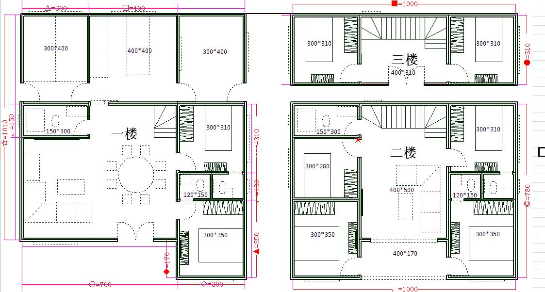 农村建房这种户型好看吗?78平方四房一厅合理吗?