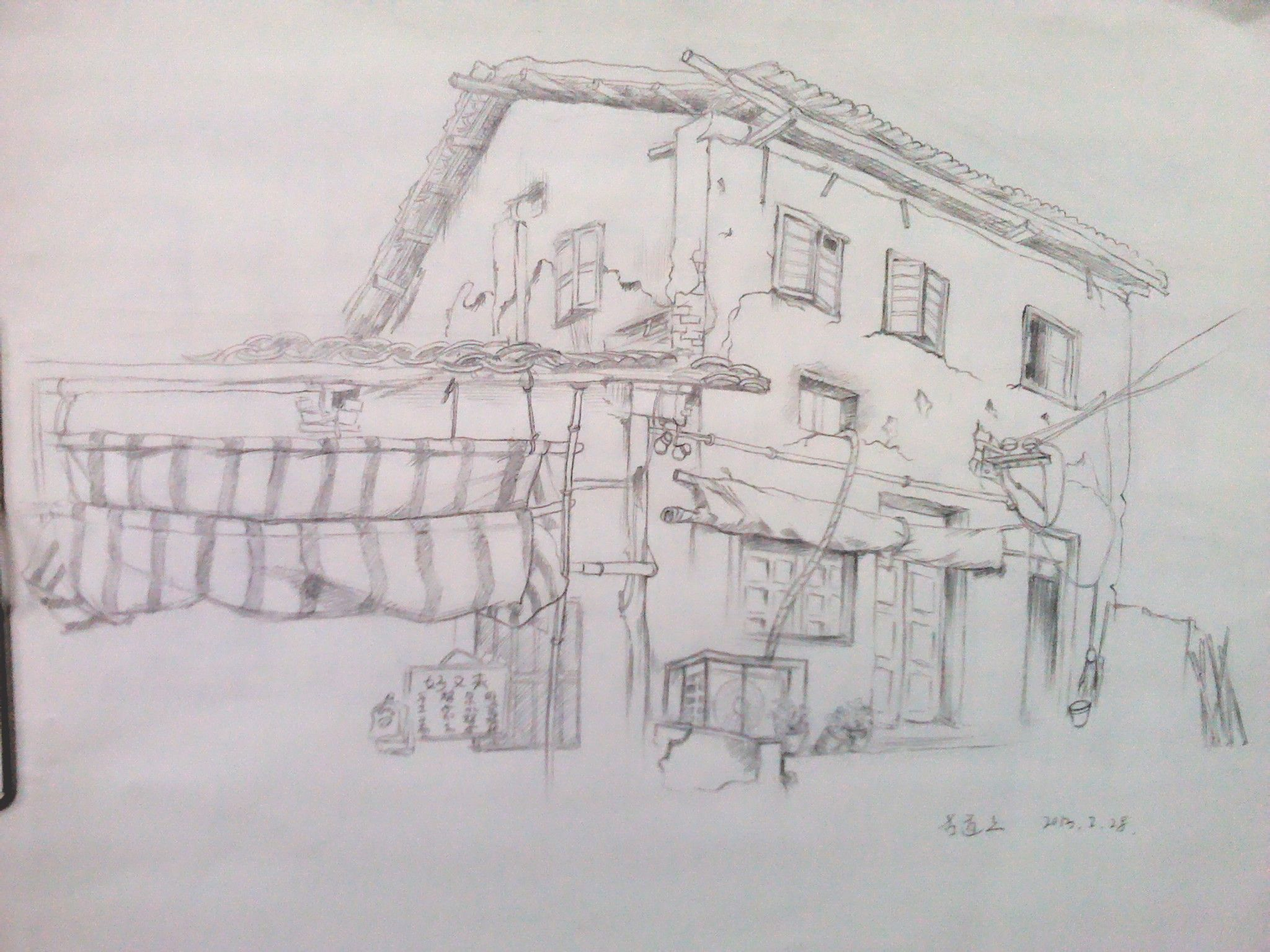 农村的房子怎么画啊?我要用来做美术作业啊!急!图片
