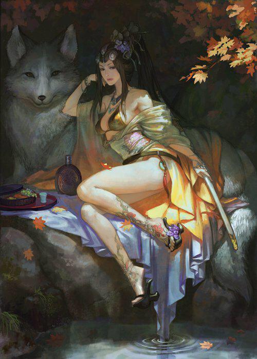 跪求一张 古风妖娆美女图 手绘的