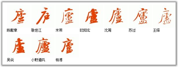 [庐]字历代名家名帖的行书写法.如图图片