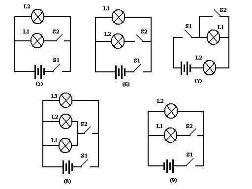 根据实物连线图(图5至图9所示)画出对应的电路图