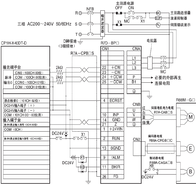 plc与伺服电机的电路接线图有吗?