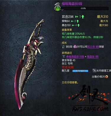 剑灵求洪门剑极限海盗时的样子