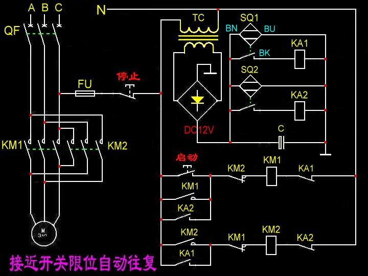 用一个三线接近开关,两个中间继电器,一个时间继电器,图片