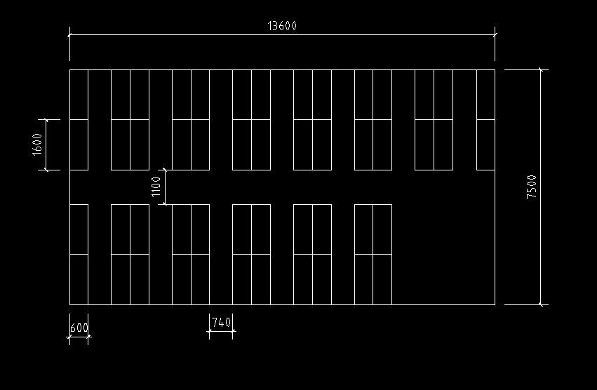 电脑教室cad平面图,50台电脑,双人桌子,(电脑教室长13