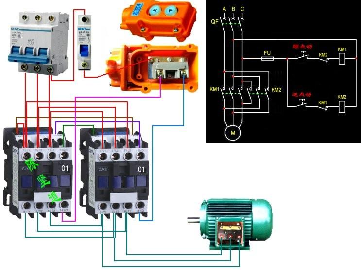 三相电葫芦上下键手柄接线图且电机只有三根线求解