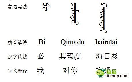 我爱你用蒙古字怎么写