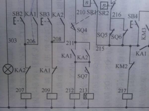 t68卧式镗床电气控制线路中,303 206 207 208 209 210
