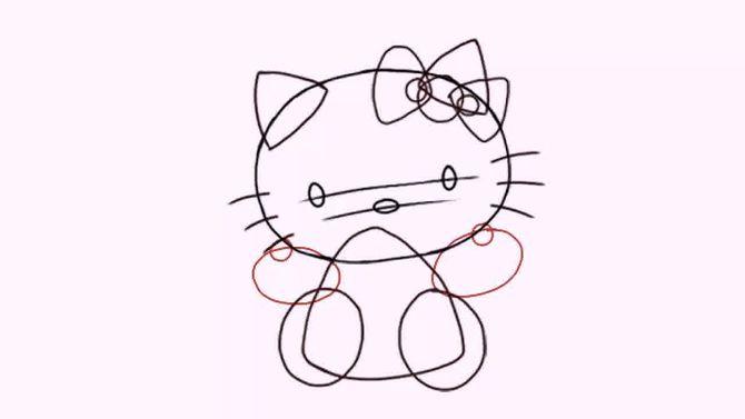 5.画以个有弧边的三角形作为身体,再画两个椭圆作为脚.图片