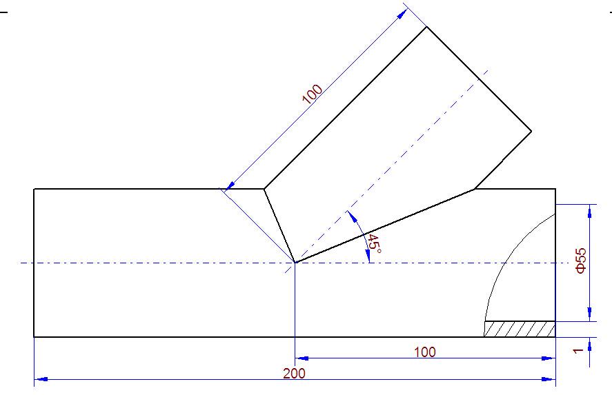 手工放样步骤:(以一节为例,其余方法相同) 1)先按实际尺寸画出弯头