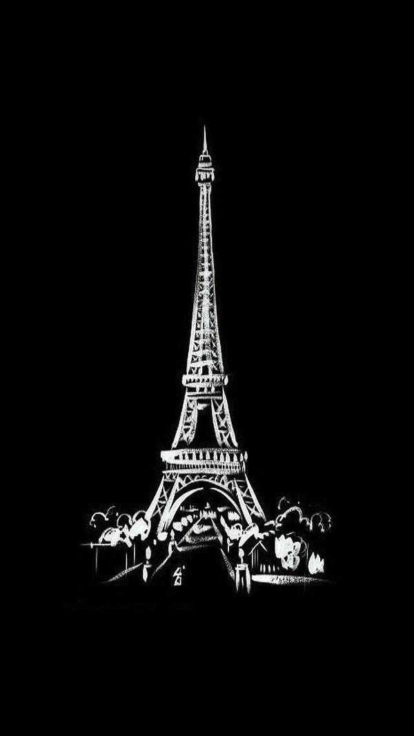 埃菲尔铁塔黑白手绘图片