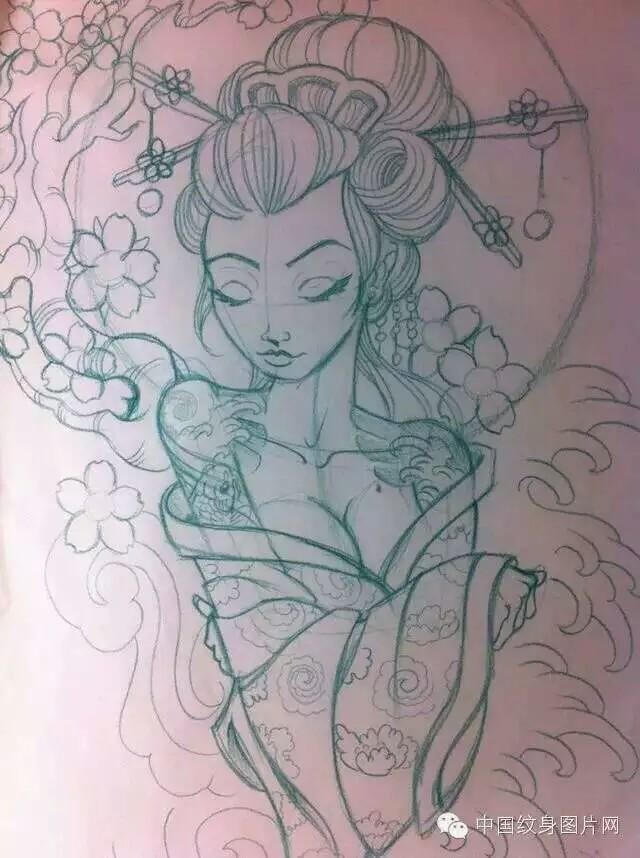求一张桃花纹身平面图 五片花瓣的