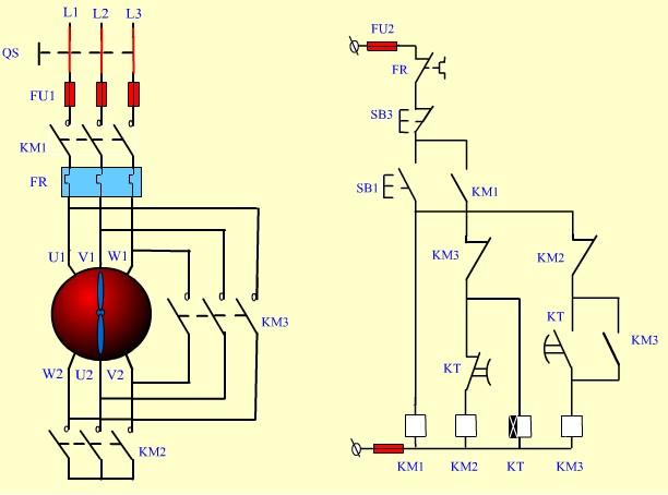 星三角电机启动实物接线图(带中间继电器),哪里可以看到?