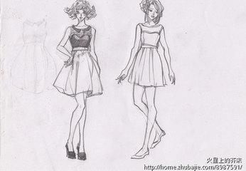 铅笔画图片唯美女生衣服