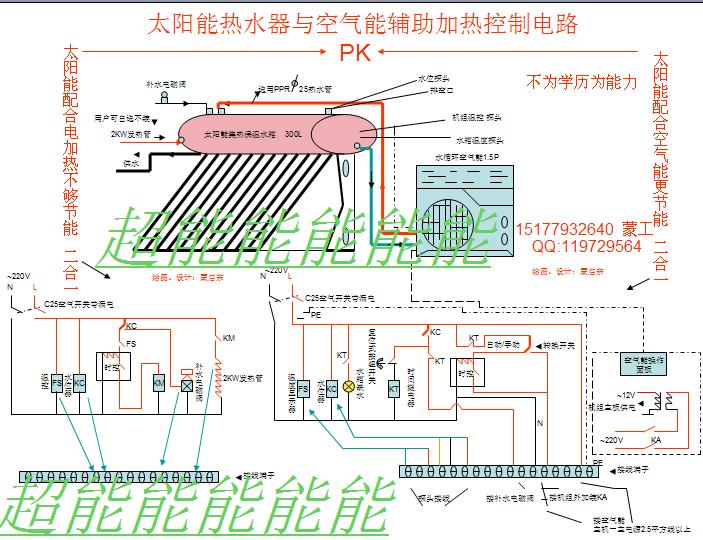 急求家用太阳能和空气能热水器合用水路图