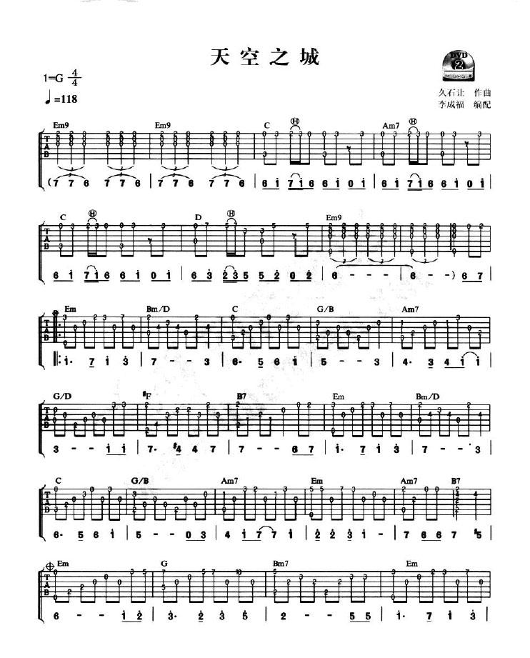 以下是《天空之城》的吉他曲谱