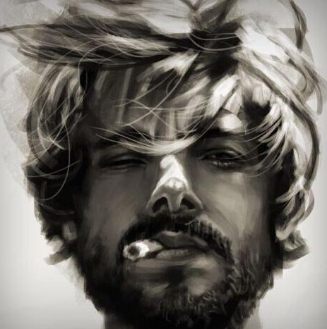 求一张手绘人物图,一个胡子拉渣的大叔,嘴里叼着一根烟,一看就不是