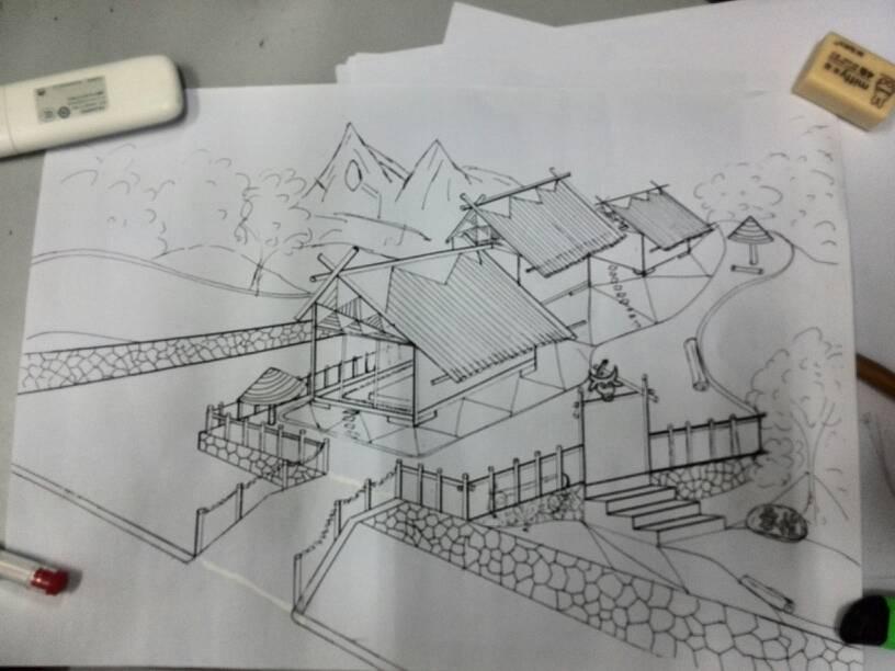 求帮画一室内设计景观一点透视手绘线稿,要求:给你成角透视线稿图,画