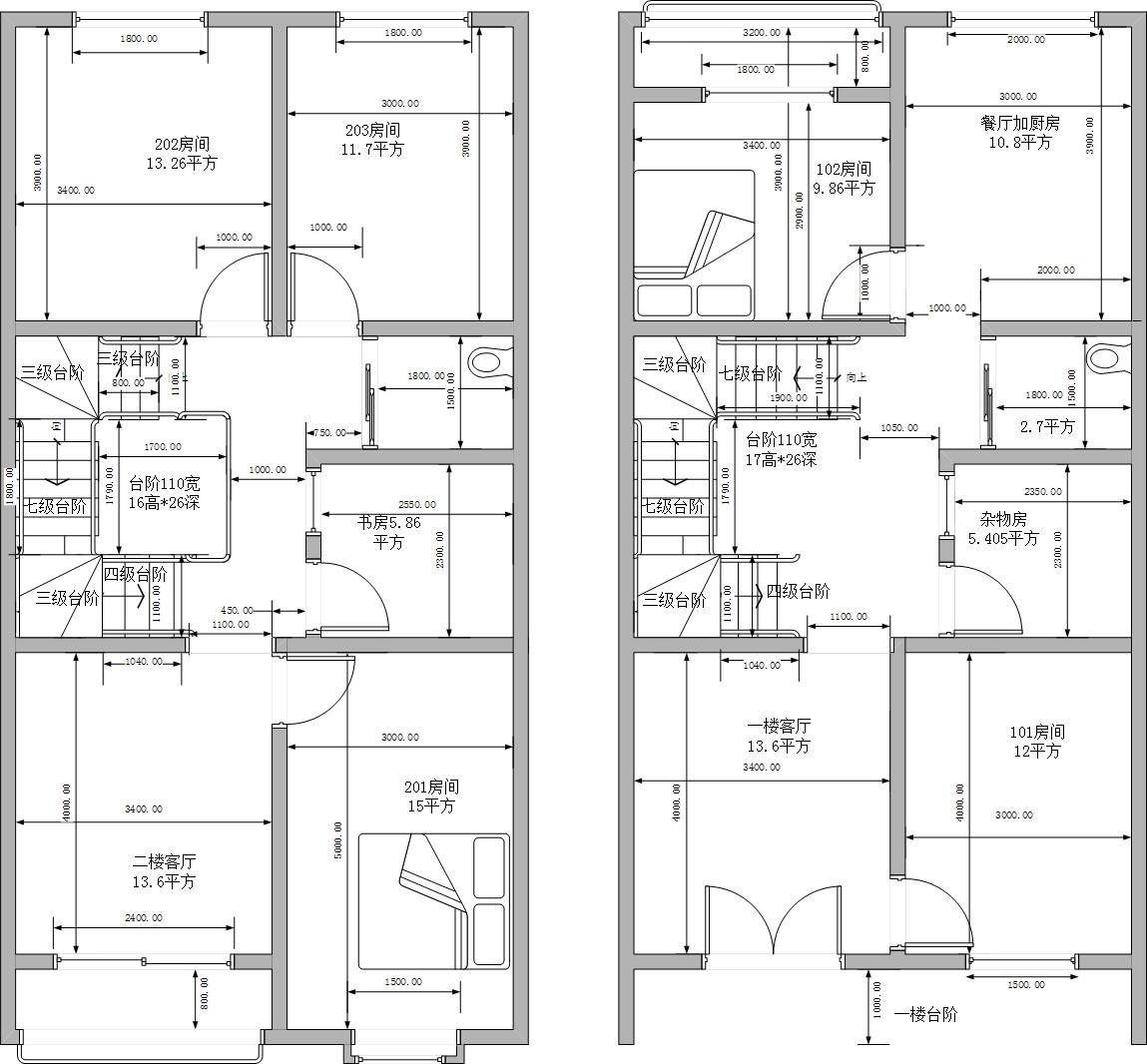 农村房屋设计7*13.6米图片