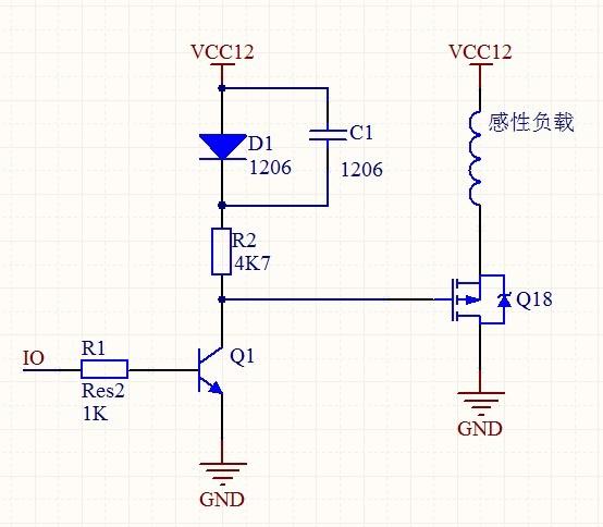 麻烦大神看看这个pmos驱动电路的二极管和电容的作用是什么,答细有