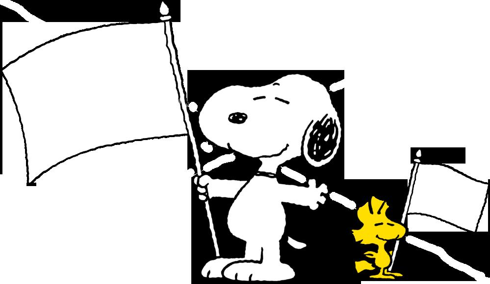 关于史努比手拿红旗的简笔画