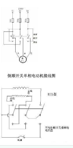 用倒顺开关控制电动机的正反转电路图.三相及单相电机接线图.供参考