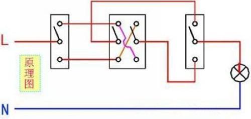 家庭双控开关电路接法图