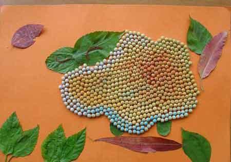 手工制作豆子和米粒怎样粘到纸上