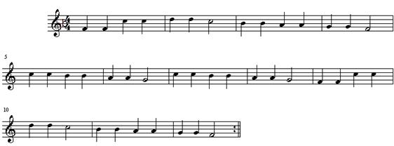 c调的小星星翻译成f调的钢琴谱