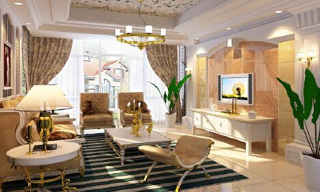 100平方平方欧式装修客厅效果图2015款