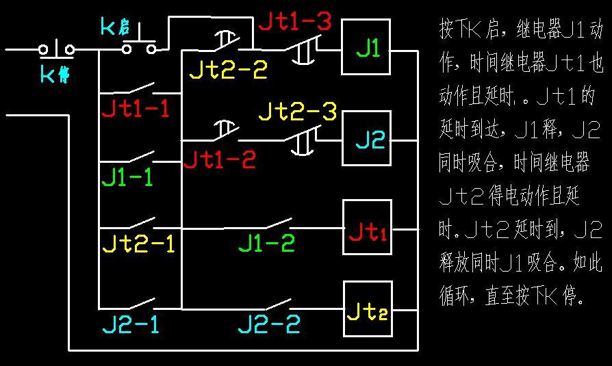 三相异步电机转30分钟停20分循环进行接线图用两个时间继电器