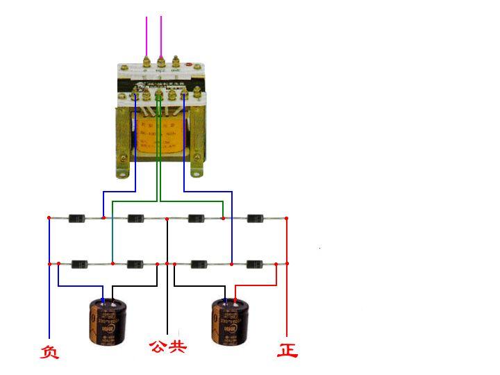 输出是交流电,没有正负极性,只有直流电才有正负极的。若采用2组(每组4只二极管)桥式整流,输出就为双直流电源。, 环牛绕制,次级双线绕制,为什么我的万用表测不出正负15V,而是两组15v??? -爱问知识网