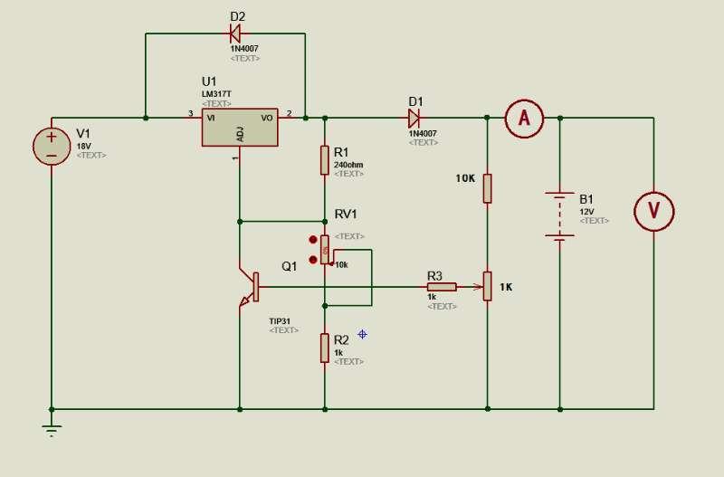 lm317 制作12v电瓶充电器,充满自动关断三极管应该怎么接