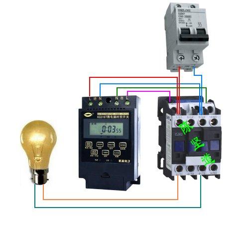 请问交流接触器,时控开关控制路灯接线图