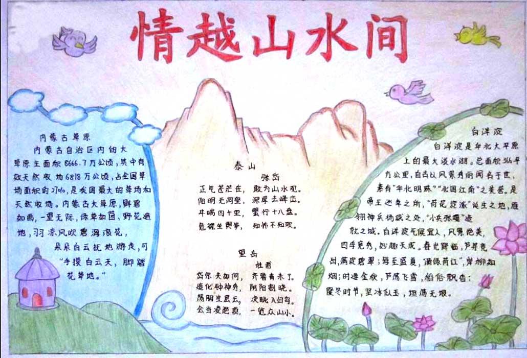我爱祖国山和水手抄报资料内容图片