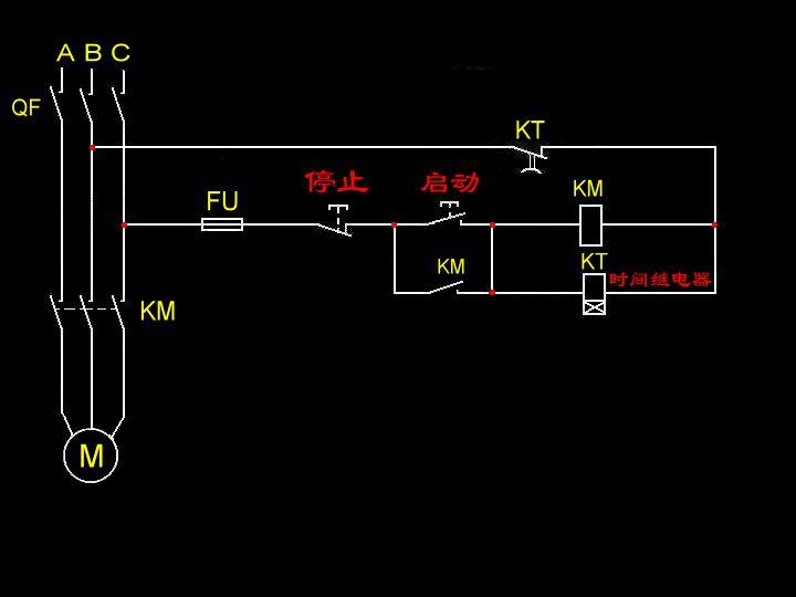 js14p控制三相电机的接线图,带按钮启动