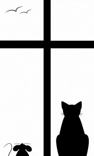 求原图~~猫和老鼠的黑白剪影