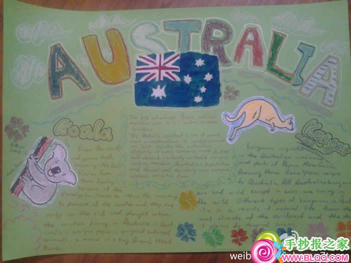 关于澳大利亚的半中半英的手抄报