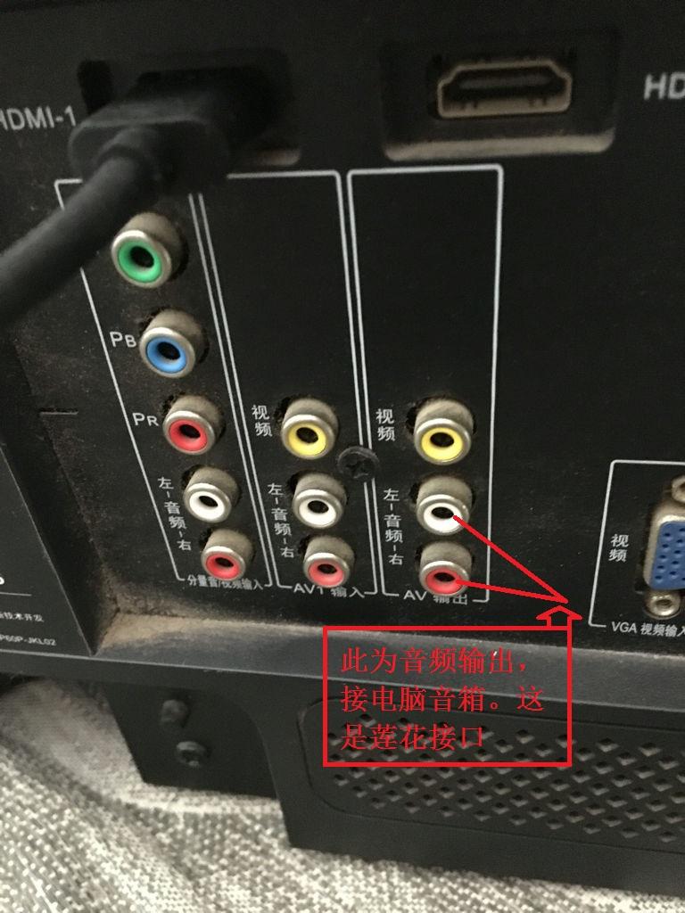 把这根转接线插到电视机上,再把电脑音箱连接到这个3.图片