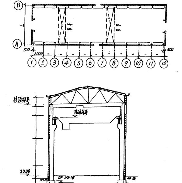 求单层厂房结构布置图,柱及基础施工图