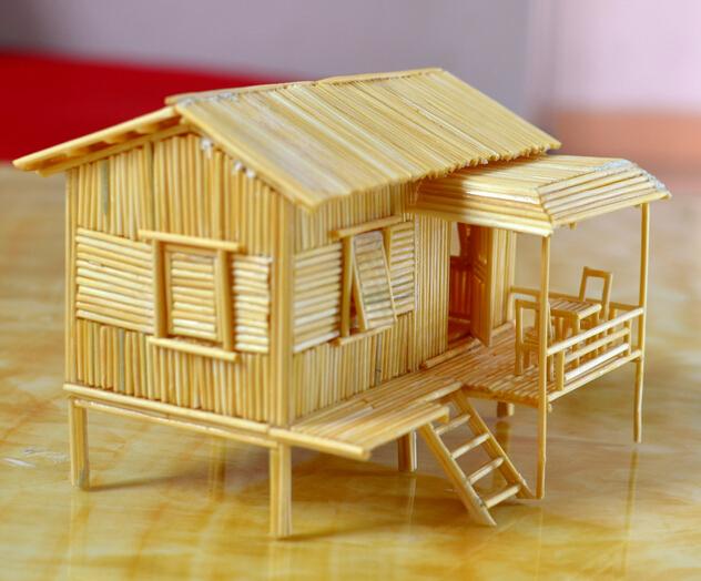 手工制作制作简单的用牙签做小木屋方法及图片大全