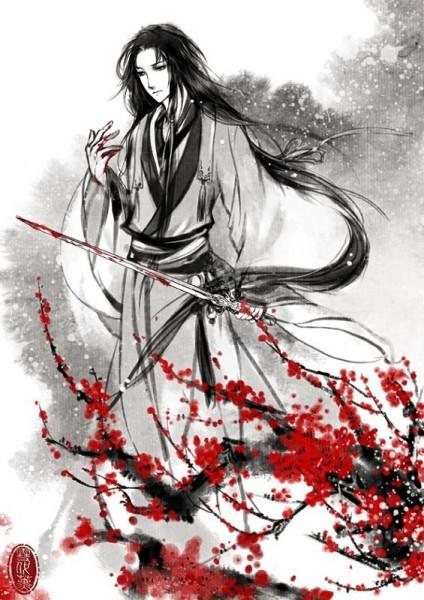 黑白手绘古风美男 男子站立手持一把剑