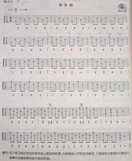 求欢乐颂弹指吉他谱图片